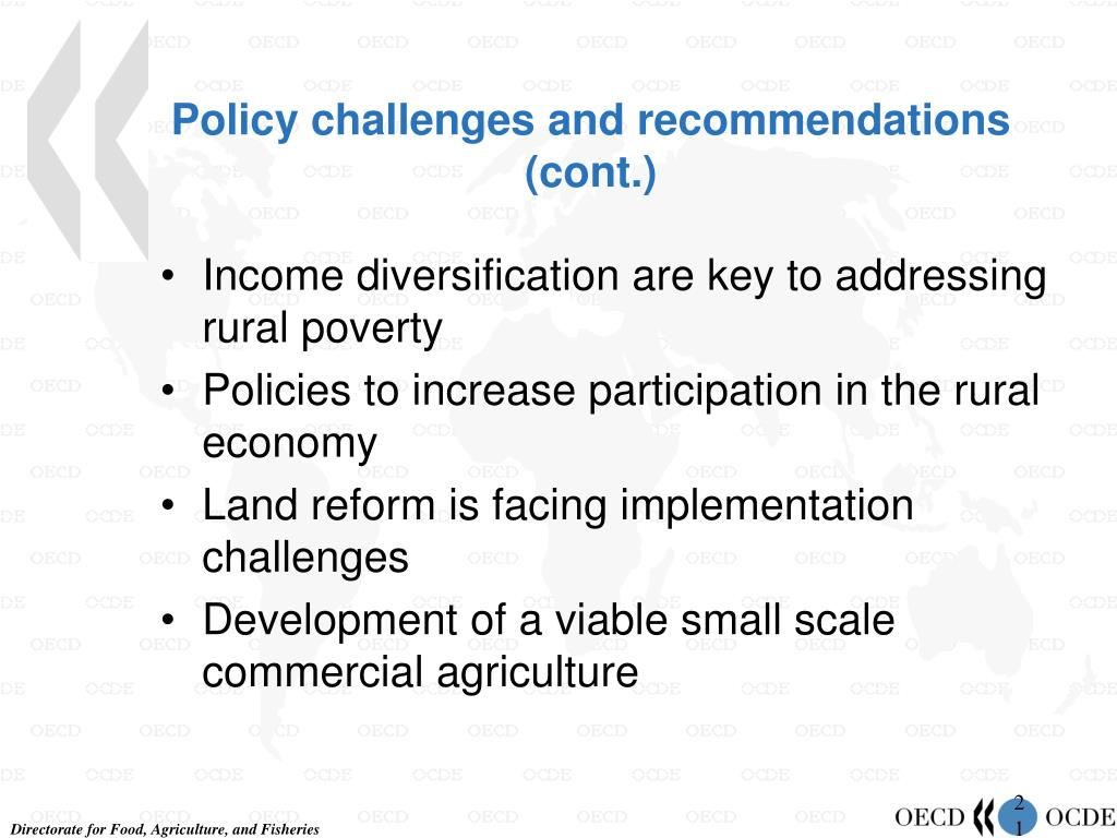 Policy challenges and recommendations (cont.)