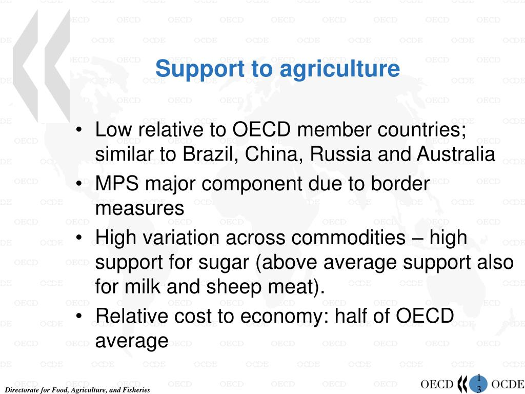 Support to agriculture