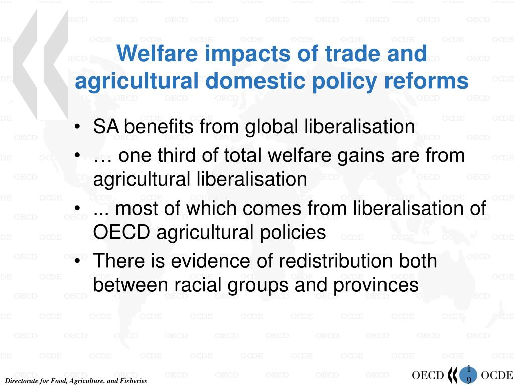Welfare impacts of trade and agricultural domestic policy reforms