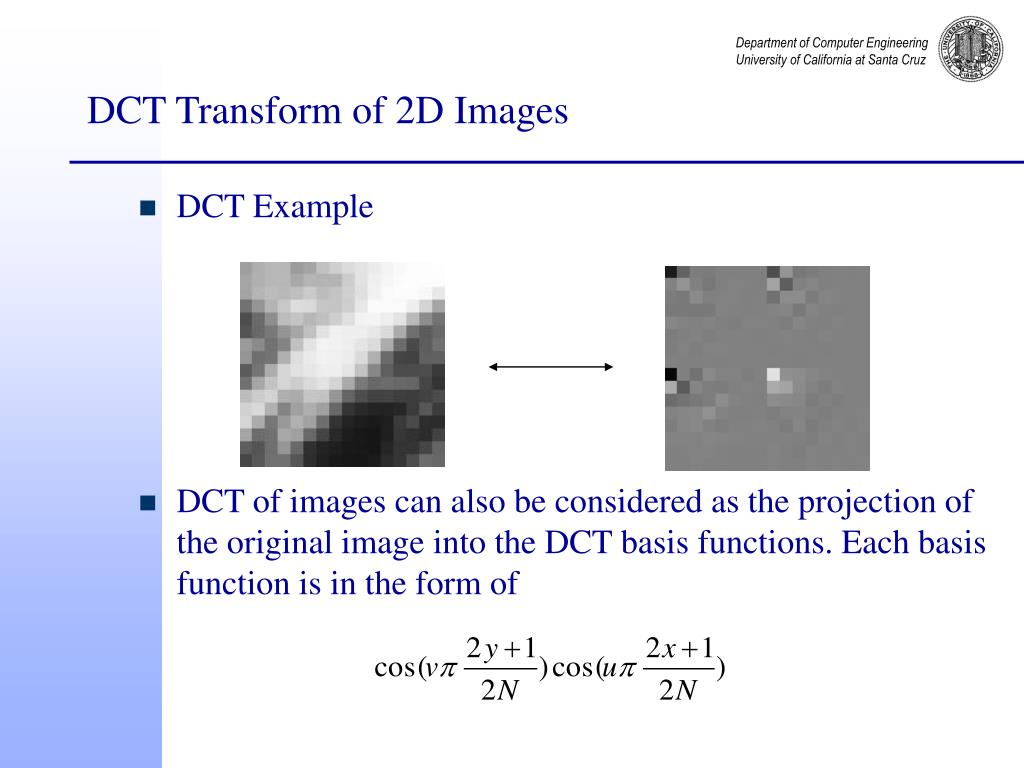 DCT Transform of 2D Images