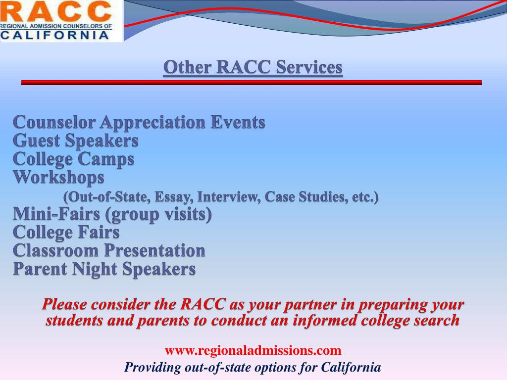 Other RACC Services