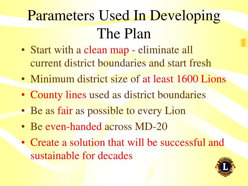 Parameters Used In Developing The Plan
