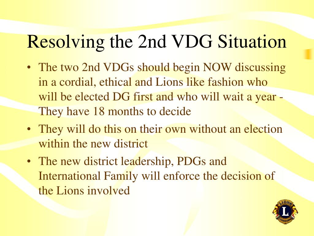 Resolving the 2nd VDG Situation