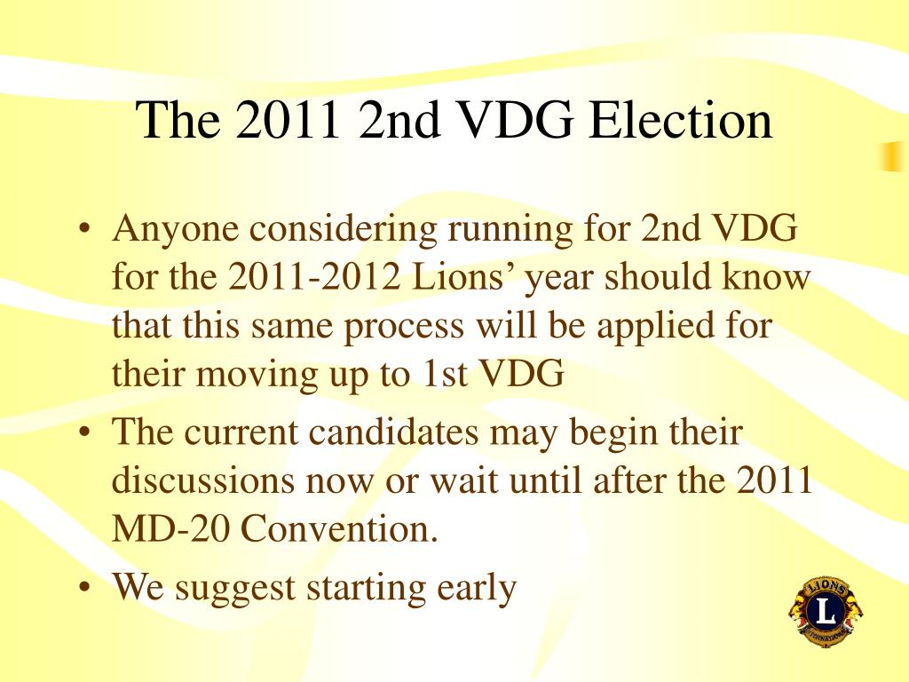 The 2011 2nd VDG Election