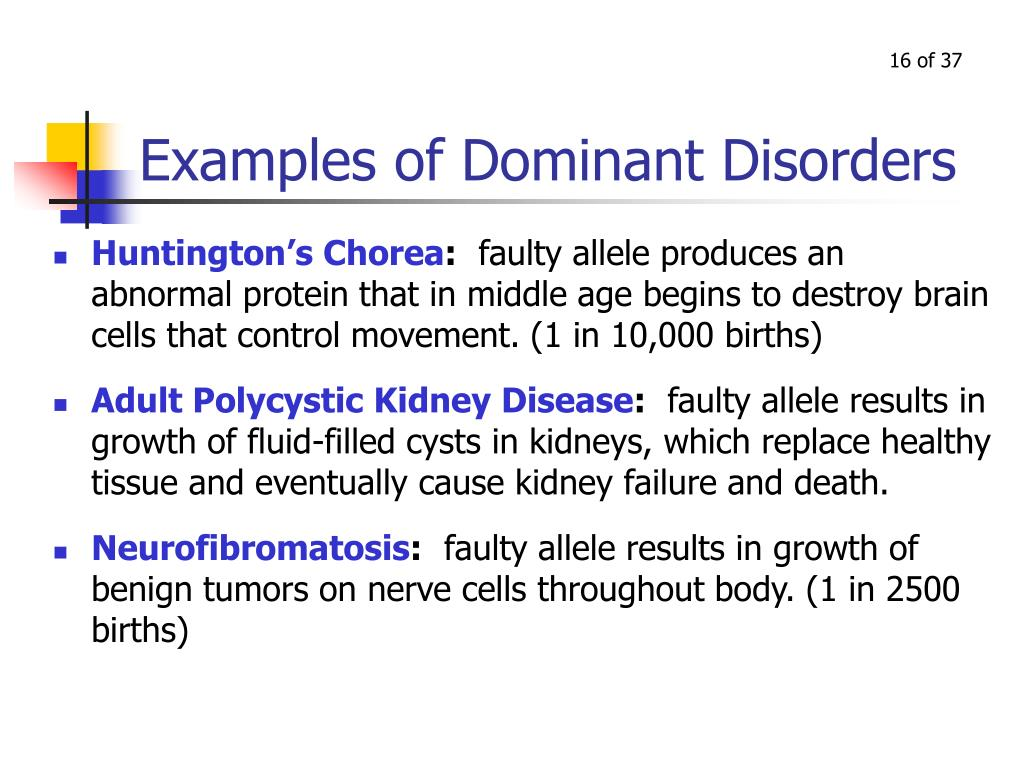 Examples of Dominant Disorders