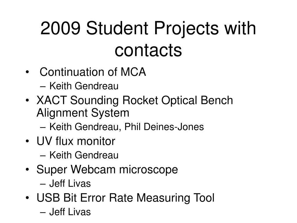 2009 Student Projects with contacts