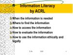 information literacy by acrl