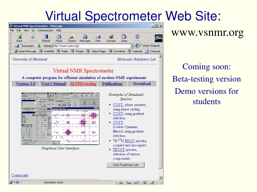 Virtual Spectrometer Web Site:
