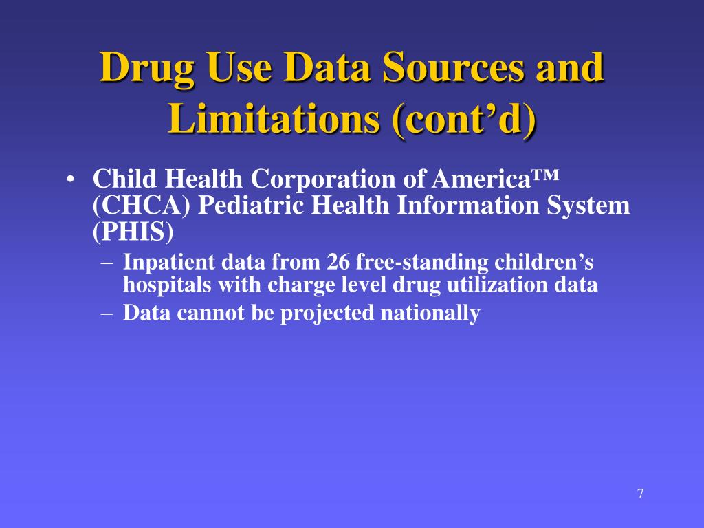 Drug Use Data Sources and Limitations (cont'd)