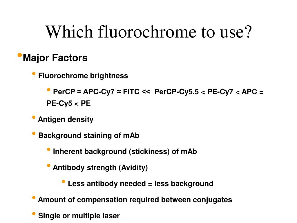 Which fluorochrome to use?
