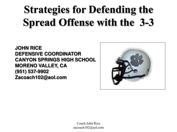 strategies for defending the spread offense with the 3 3 n.