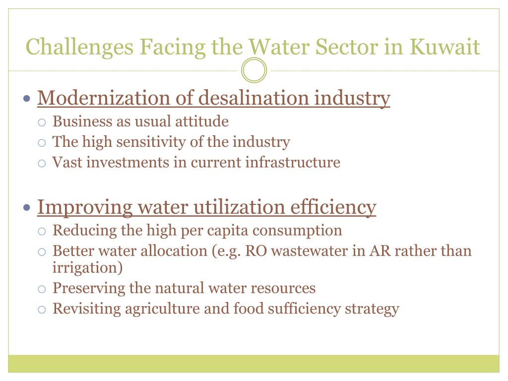 Challenges Facing the Water Sector in Kuwait