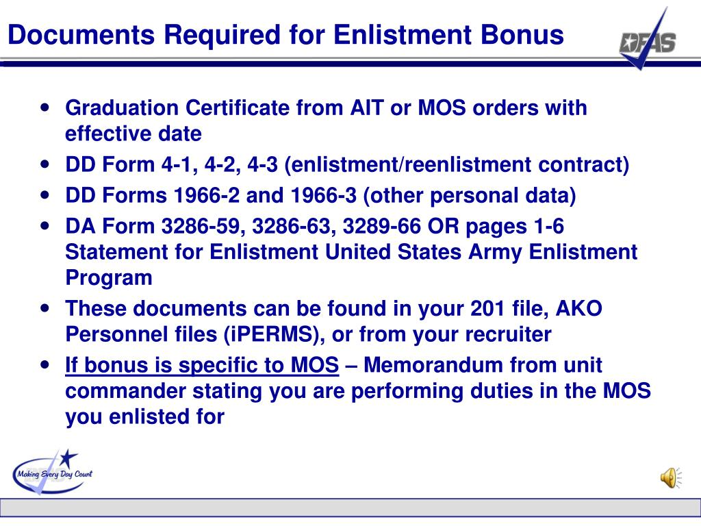 Documents Required for Enlistment Bonus
