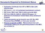 documents required for enlistment bonus