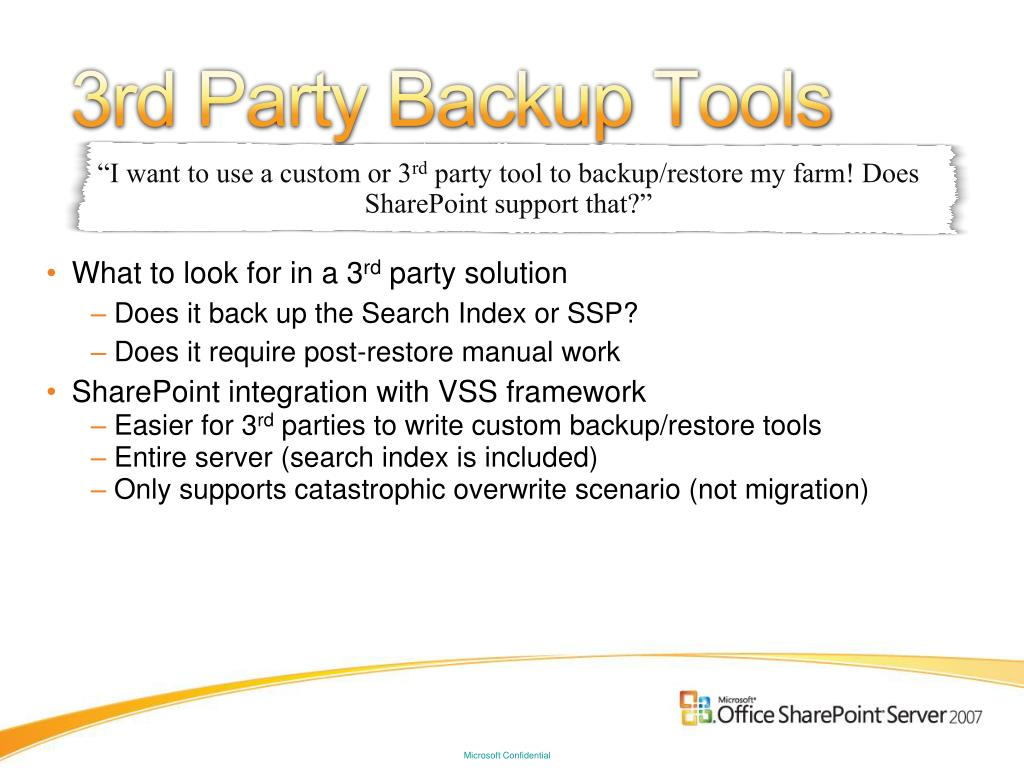 3rd Party Backup Tools