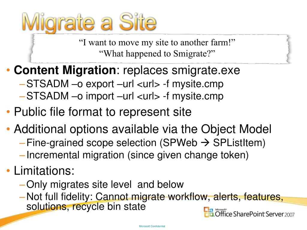 Migrate a Site
