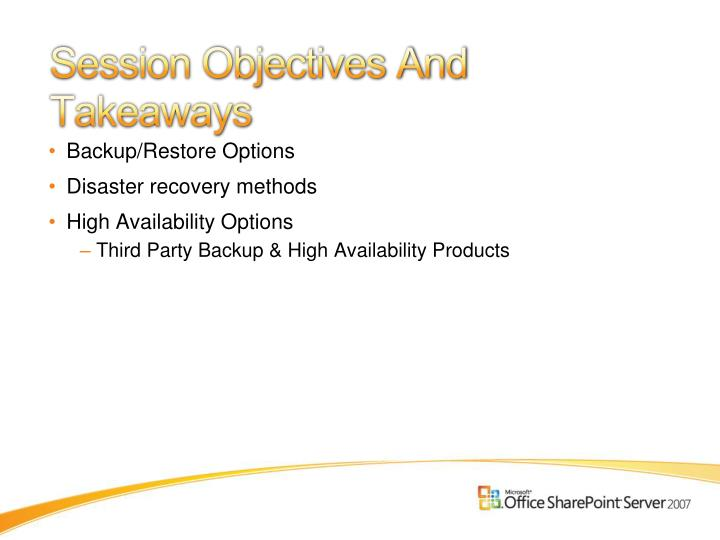 Session objectives and takeaways