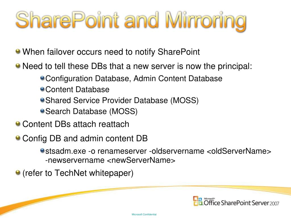SharePoint and Mirroring