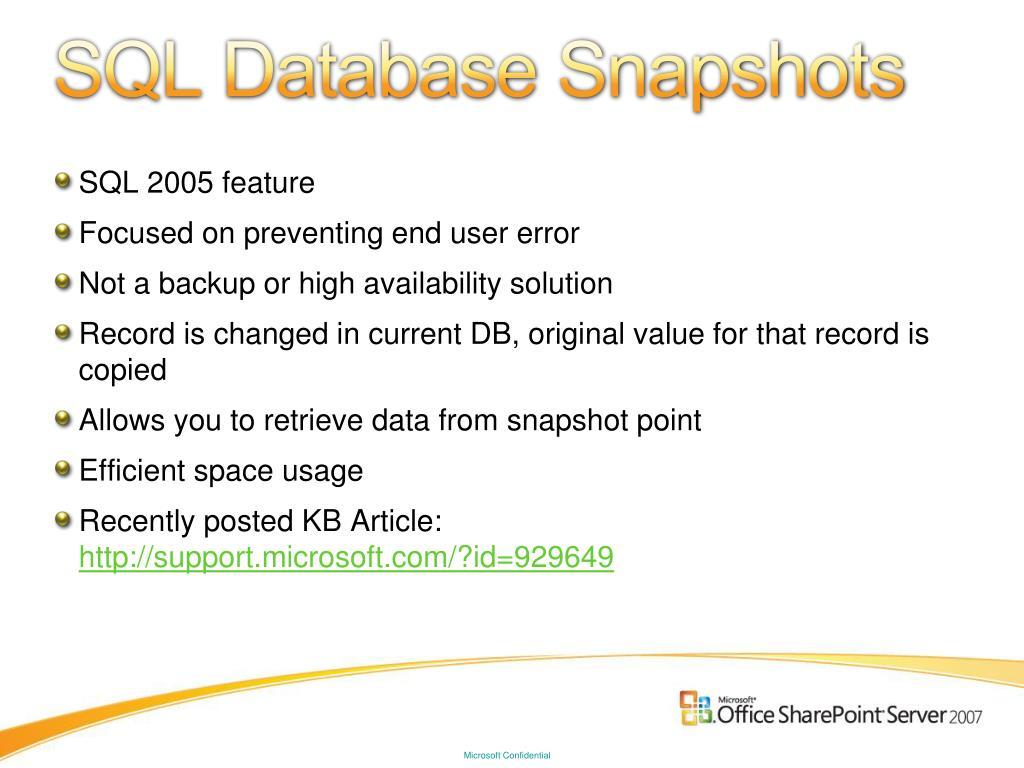 SQL Database Snapshots