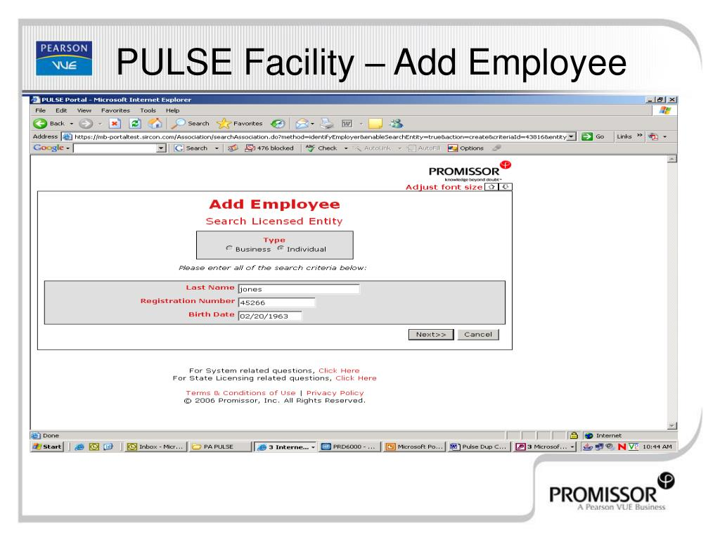 PULSE Facility – Add Employee