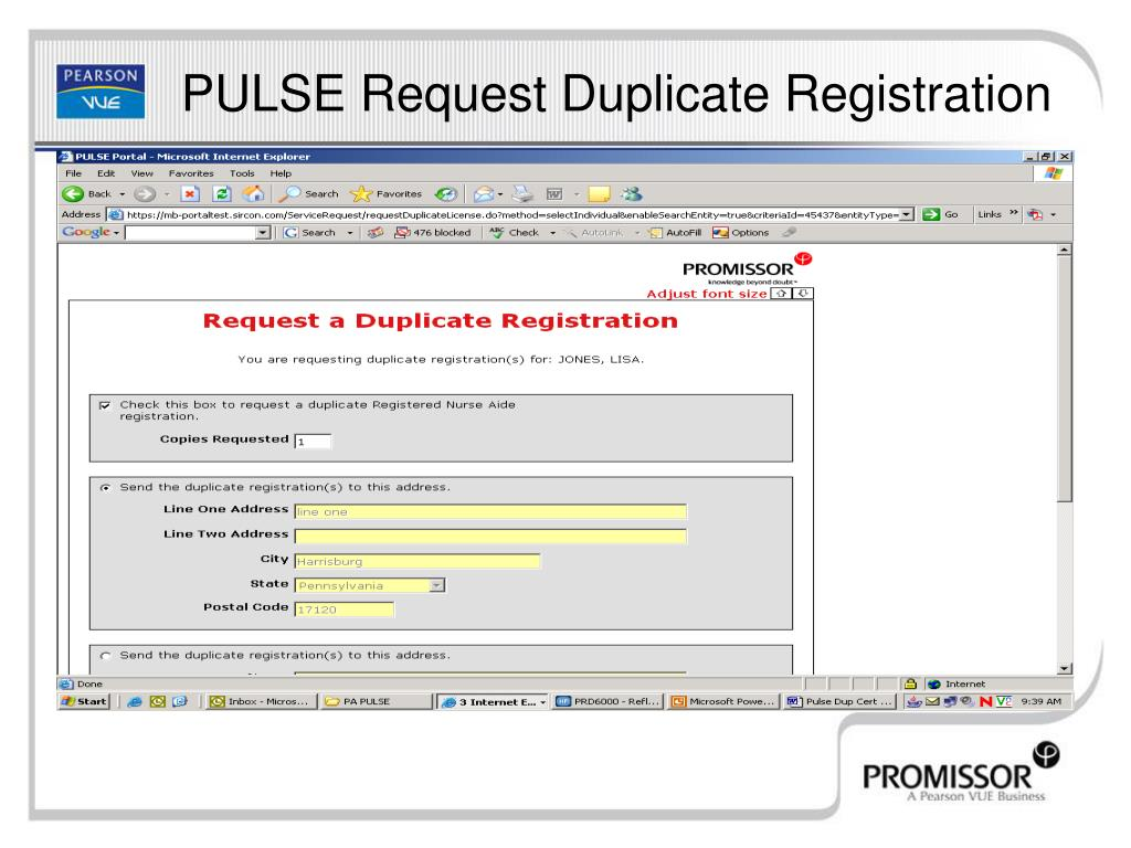 PULSE Request Duplicate Registration