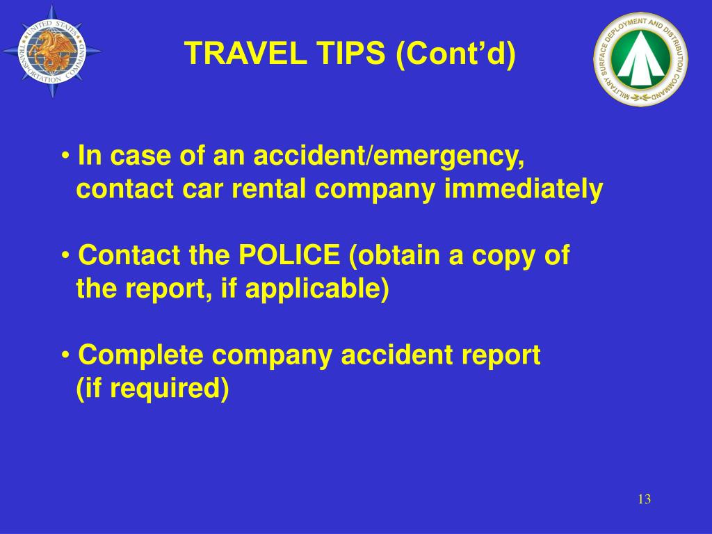 TRAVEL TIPS (Cont'd)