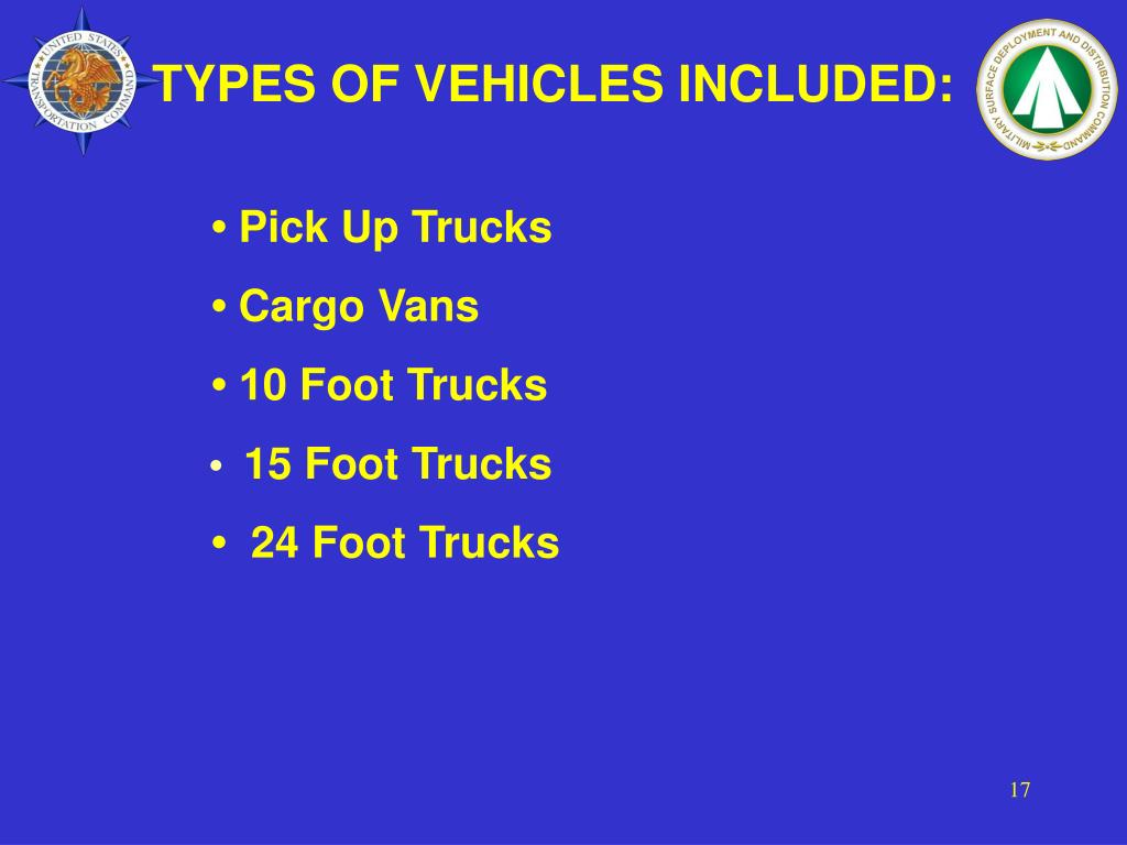 TYPES OF VEHICLES INCLUDED: