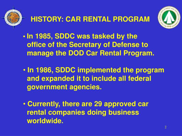 HISTORY: CAR RENTAL PROGRAM