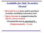 available for sale securities owned
