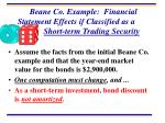 beane co example financial statement effects if classified as a short term trading security