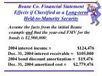 beane co financial statement effects if classified as a long term held to maturity security