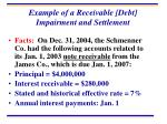 example of a receivable debt impairment and settlement