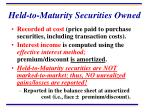 held to maturity securities owned
