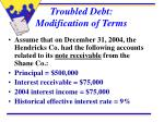 troubled debt modification of terms