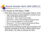 recent vocoder work 2003 2008 2
