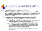 recent vocoder work 2003 2008 3