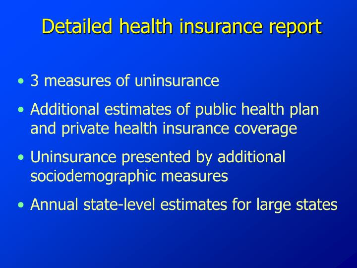 Detailed health insurance report