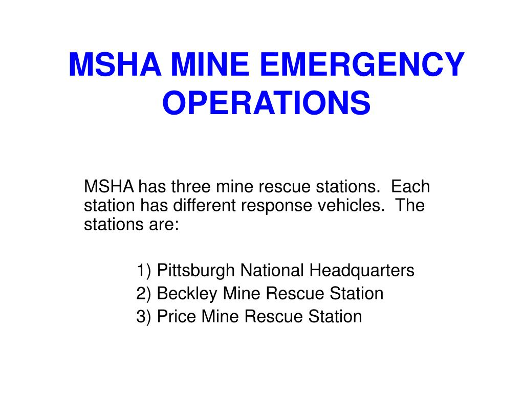 msha mine emergency operations l.