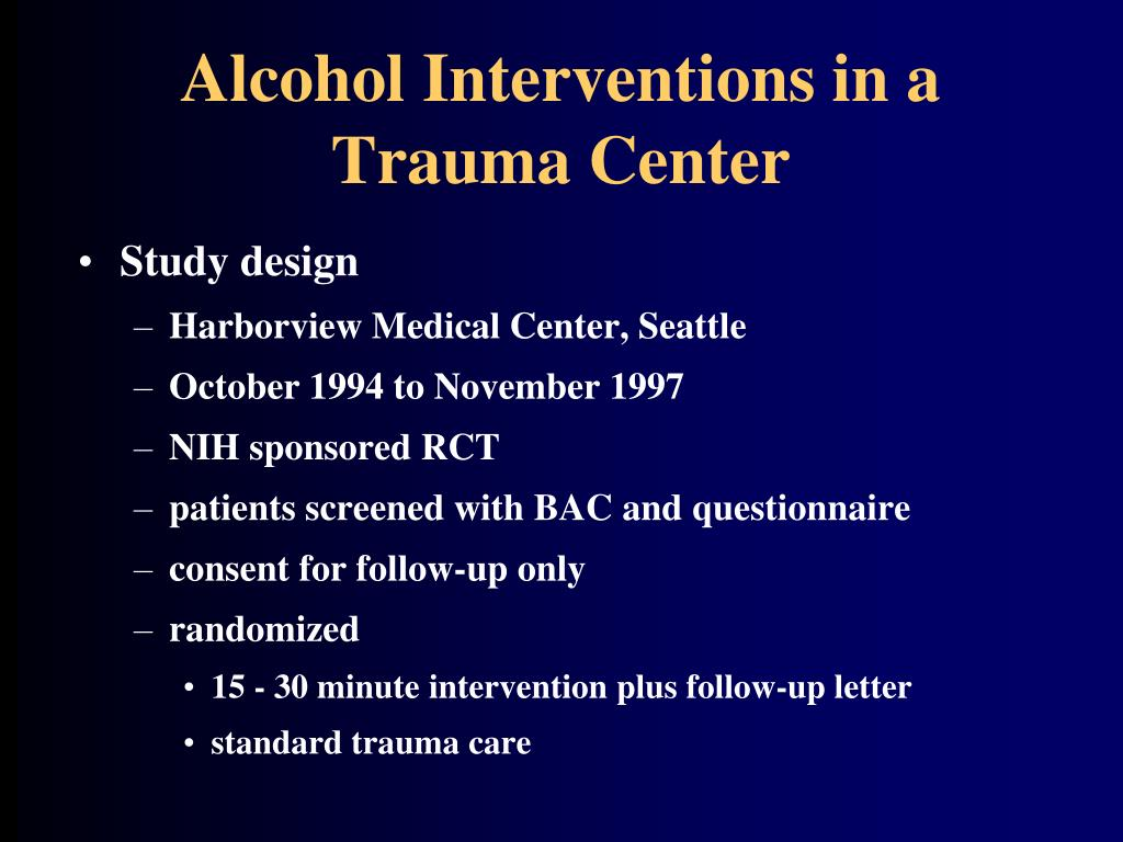 Alcohol Interventions in a Trauma Center