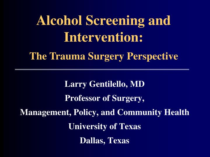 Alcohol screening and intervention