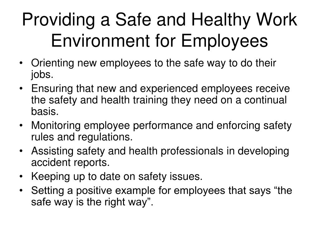 Providing a Safe and Healthy Work Environment for Employees