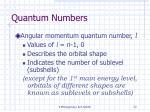 quantum numbers72