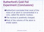 rutherford s gold foil experiment conclusions