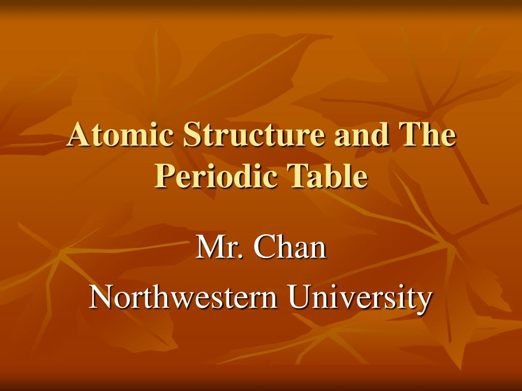 atomic structure and the periodic table l.