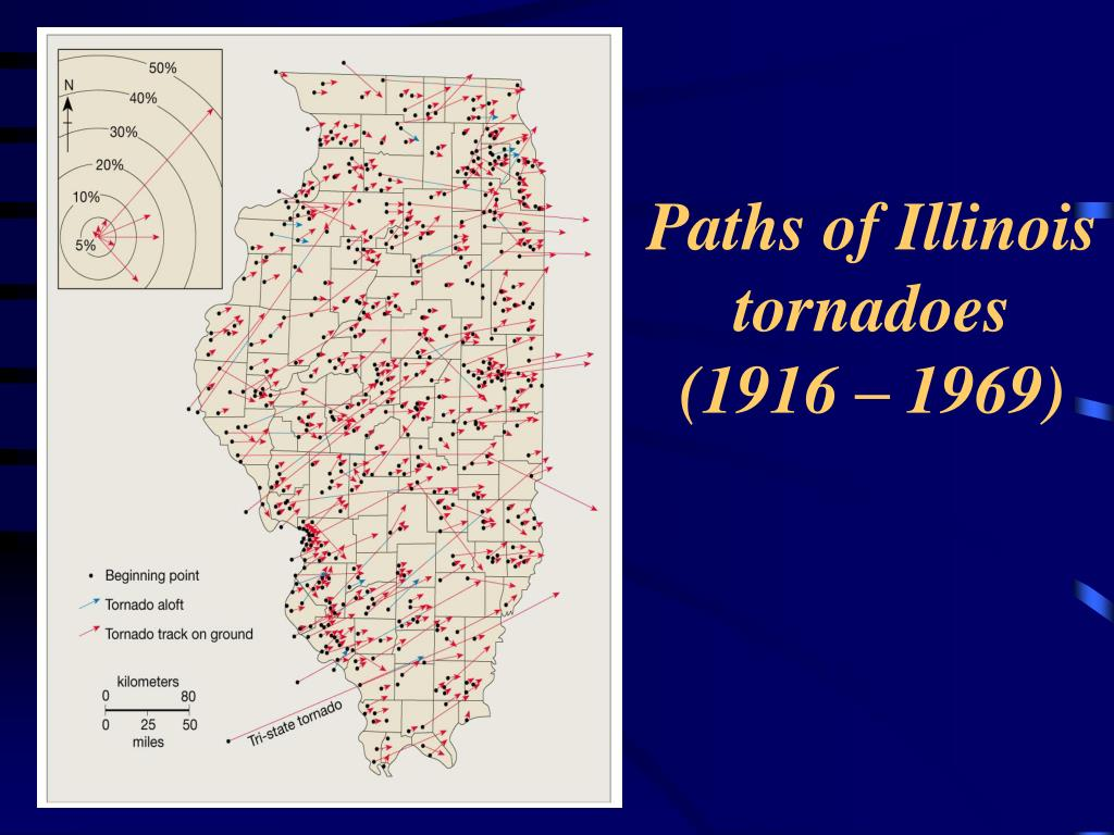 Paths of Illinois tornadoes