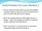 useful pointers for lone workers 1