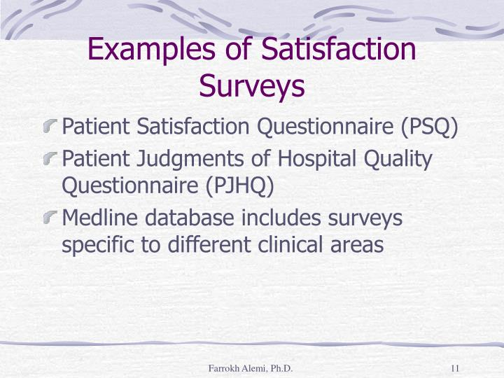 Examples of Satisfaction Surveys