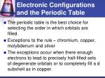 electronic configurations and the periodic table