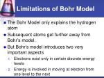 limitations of bohr model