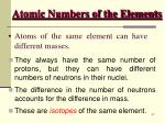 atomic numbers of the elements46